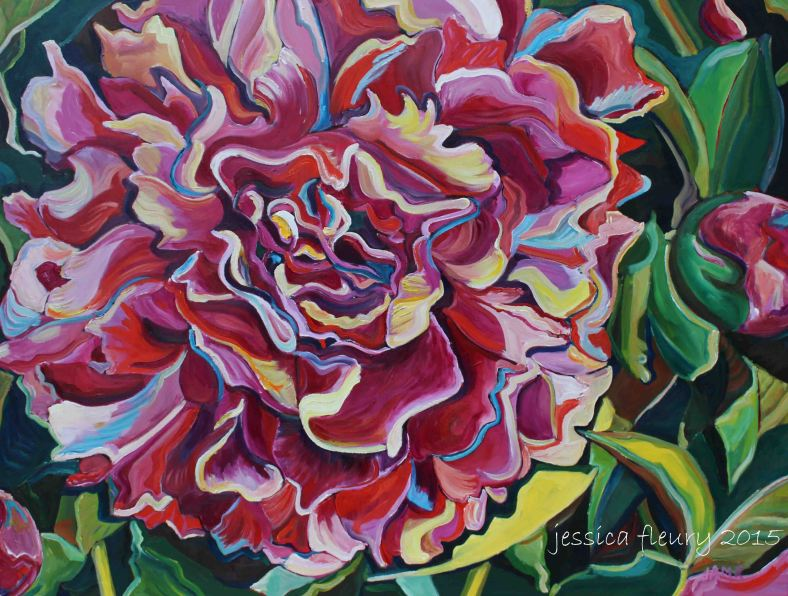 A Peony for your Thoughts 30 x 40 Acrylic on Canvas
