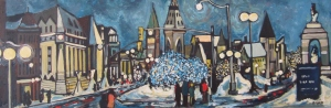 Downtown, Illuminated (sold) 36 x 12 Acrylic on Canvas