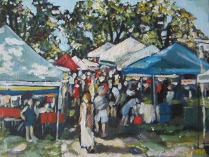 Westboro Farmer's Market 12 x 9 Acrylic on Canvas