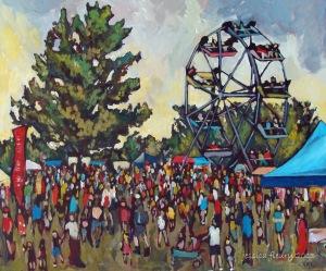 Festival at Mooney's Bay 24 x 20 Acrylic on Wood Panel