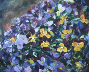Pansy Patch 20 x 16 Acrylic on Canvas