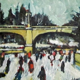 Approaching Bank St. (sold) 15.24cm x 15.24cm Acrylic on Canvas