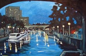 August Canal 24 x 36 Acrylic on Canvas