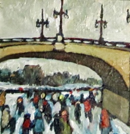 Bank Street Mini 15.24cm x 15.24cm Acrylic on Canvas