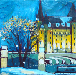 Chateau Laurier Mini 6 x 6 Acrylic on Canvas