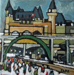 Heading Downtown Mini (sold) 15.24cm x 15.24cm Acrylic on Canvas