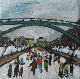 Wintry Day on the Rideau (sold) 15.24cm x 15.24cm Acrylic on Canvas