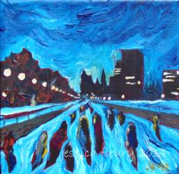 Night skate 6 x 6 Acrylic on Canvas