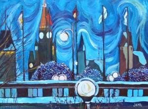 December Sky 16 x 12 Acrylic on Canvas
