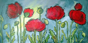 Red Poppies (sold) 60 x 36 Acrylic on Canvas