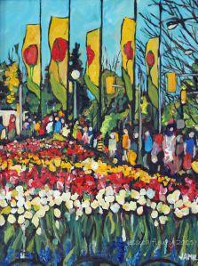 Along the Tulips 12 x 16 Acrylic on Canvas