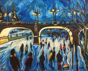 Bank Street Alight 16 x 20 Acrylic on Canvas