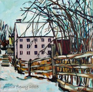 The MIll in March 12 x 12 Acrylic on Canvas