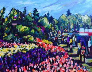 Walking among the Tulips 16 x 20 Acrylic on Canvas