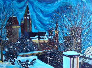 Downtown Lights 40 x 30 Acrylic on Wood Panel