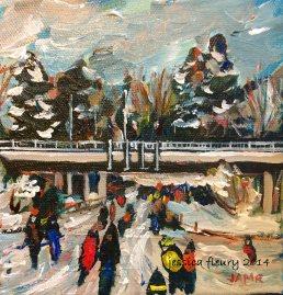 Bronson After Snow 6 x 6 Acrylic on Canvas