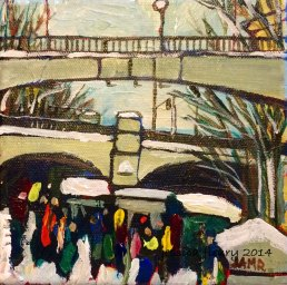 Skateway Opens 6 x 6 Acrylic on Canvas