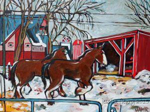 April at the Farm 18 x 24 Acrylic on Canvas