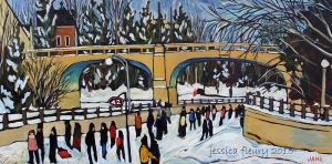 Bank Street in January 20 x 40 Acrylic on Canvas