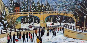 Bank Street in January 20 x 40 Acrylic on Canvas