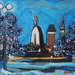Downtown in Winter 6 x 6 Acrylic on Canvas