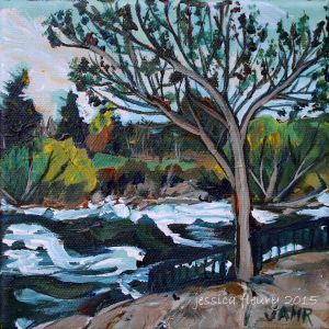 Hog's back by the Falls 6 x 6 Acrylic on Canvas