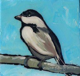 Jack Pine Chickadee 1 4 x 4 Acrylic on Canvas