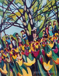 Tulip Festival Candid 12 x 14 Acrylic on Canvas