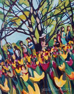 Tulip Festival Candid 12 x 14 Acrylic on Canvas