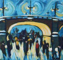 Under the Streetlights 5 x 5 Acrylic on Canvas