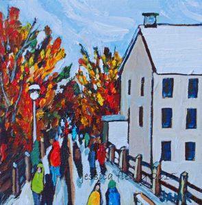 Autumn at the Mill 8 x 8 Acrylic on Canvas