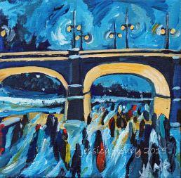 Thursday evening in February 6 x 6 Acrylic on Canvas
