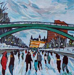 Under the Corktown Footbridge 8 x 8 Acrylic on Wood Panel