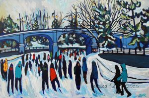 4.2kms (at Bank St) 24 x 36 Acrylic on Canvas