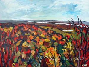 Through the Sumac in Gatineau 30 x 40 Acrylic on Canvas
