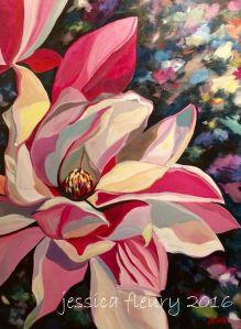 March Magnolia 30 x 40 Acrylic on Canvas