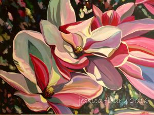 Spring Magnolias 36 x 48 Acrylic on Canvas