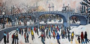 Bank Street in Grey 24 x 48 Acrylic on Canvas