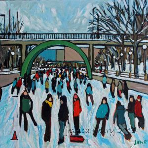 Canal at minus 25C 12 x 12 Acrylic on Wood Panel