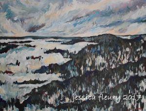 Gatineau Hills in February 30 x 40 Acrylic on Canvas