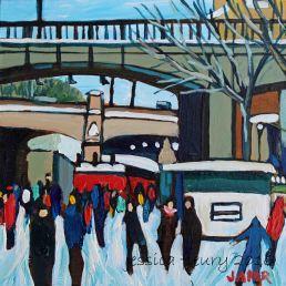 Under Bridges 2016 6 x 6 Acrylic on Wood Panel