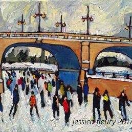 Under the Bank St Bridge Mini 8 x 10 Acrylic on Canvas